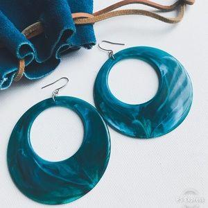 Jewelry - RESIN ACRYLIC  Blue/Green Dangle Hoop Earrings